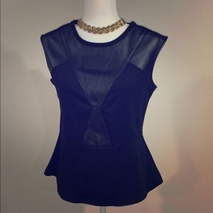 Black Worthington faux leather top MP